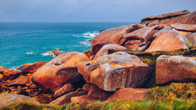 The pink granite coast view, granit rocks in Tregastel (Perros-Guirec), Brittany (Bretagne), France stock images