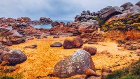 The pink granite coast view, granit rocks in Tregastel (Perros-Guirec), Brittany (Bretagne), France stock image