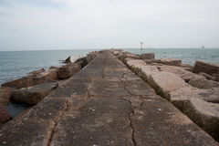Pink Granite Jetty Gulf of Mexico royalty free stock photography