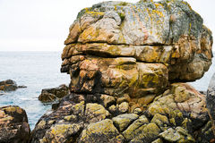 Pink granite rock in Brittany Stock Image