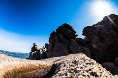 Pink Granite rocks closeup stock image