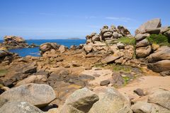 Pink granite rocks in Ploumanach Royalty Free Stock Photography