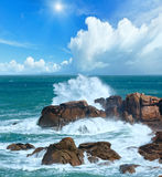 The Pink Granite sunshiny Coast Brittany, France. Ocean coast wave spring sunshiny view  between Perros-Guirec and Pleumeur-Bodou, Brittany, France. The Pink Royalty Free Stock Photos