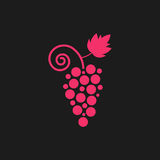 Pink grape icon on black background. Concept of vegetarian, organic, wine store mark, sommelier, healthy diet, grapevine, winemaking. flat style trend modern Vector Illustration