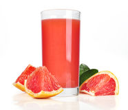 Pink grapefruit juice. Glass of pink grapefruit juice isolated on white Royalty Free Stock Images