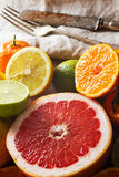Pink grapefruit and other citrus fruit. Royalty Free Stock Photo