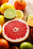 Pink grapefruit and other citrus fruit Stock Photography