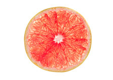 Pink grapefruit slice isolated on white Royalty Free Stock Photos