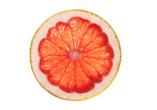 Pink grapefruit slice isolated on white background Stock Photo