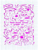 Pink graphic design elements and hand-drawn arrows. On notebook sheet for your projects Stock Photography
