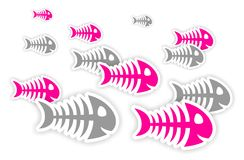 Pink and gray fish bone stickers. Background with pink and gray fish bone stickers with shadow Royalty Free Stock Images