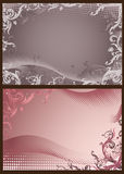 Pink and gray floral backgrounds with halftone. For design vector illustration