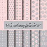 Pink and gray polka dot. Pink and gray polkadot pattern set, vector with swatches Royalty Free Stock Image