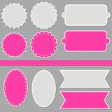 Pink gray sewed label set with ribbon Stock Photos