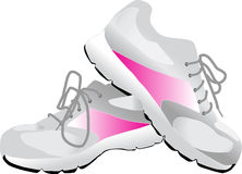 Pink and Gray Sneakers. This is an illustration of gray sneakers with pink accents. Perfect for fitness, or The Walk for the Cure royalty free illustration