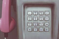 Pink and Gray Telephone Royalty Free Stock Image