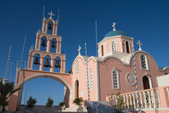 Pink greek church Royalty Free Stock Photography
