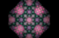 Pink green abstract fractal on black background. Fantasy fractal texture. Digital art. 3D rendering. Computer generated image.  stock illustration