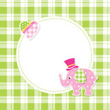 pink and green baby boy elephant greeting card Stock Photo