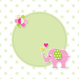 Pink and green baby elephant greeting card Stock Image