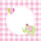 Pink and green baby girl elephant greeting card Royalty Free Stock Image