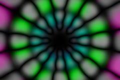 Multicolored radial circle dark pattern. Pink, green, blue and black radial circle light pattern royalty free stock photo