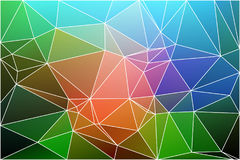 Pink green blue geometric background with mesh. Pink green blue abstract low poly geometric background with white triangle mesh Stock Photo