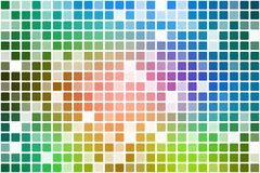 Pink green blue occasional opacity mosaic over white royalty free stock images