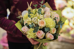 Pink green bouquet  with rose and other flowers Stock Images