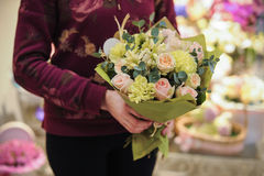 Free Pink Green Bouquet  With Rose And Other Flowers Royalty Free Stock Images - 63255849