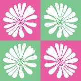 Pink and green boxed vector flower seamless stock illustration