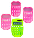 Pink and green calculators Stock Photography