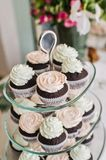 Pink and green cream cupcake on the buffet table of the restaurant. royalty free stock photo