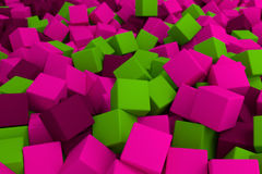 Pink and green cubes. 3d cg volumetric pink and green cubes background Royalty Free Stock Image
