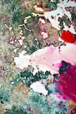 Pink green dark spots, painting watercolor background, painting abstract colors stock photo