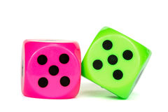 Pink and green dices Stock Photography