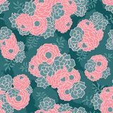 Pink green floral bouquet seamless vector texture background royalty free illustration