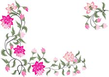 Pink and green floral corners. Illustration with pink floral corners Royalty Free Stock Photo