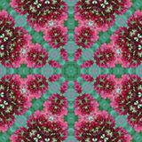 Pink and green floral geometric circle square seamless pattern royalty free stock images