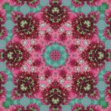 Pink and green floral geometric eight rays star seamless pattern stock images