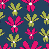 Pink and green flowers. Pink and green stylized flowers seamless background pattern Royalty Free Stock Photography