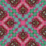 Pink green flowers natural geometric crossed lines seamless pattern stock image