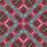 Pink and green flowers photo quality geometric seamless pattern stock photo