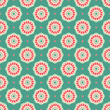 Pink and green flowers. Seamless pattern with pink and beige flowers on a green background Royalty Free Stock Photography