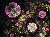 Pink and green fractal flowers. Digital artwork for creative graphic design Stock Photo