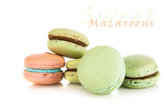 Pink and green french macaroons Stock Photography