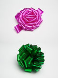 Pink and green gift bows. Isolated on white background Royalty Free Stock Image
