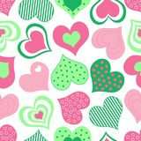 Pink and Green Hearts Pattern Stock Photos