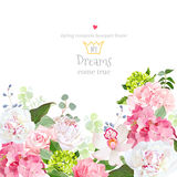 Pink and green hydrangea, rose, white peony, orchid, carnation vector design card. Botanical style frame with mixed flowers on white. Elegant floral background stock illustration