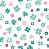 Pink and green Irish symbols design with hand drawn shamrocks and hearts. Seamless vector pattern. Ideal for St Patricks day, paper, scrap booking and as vector illustration